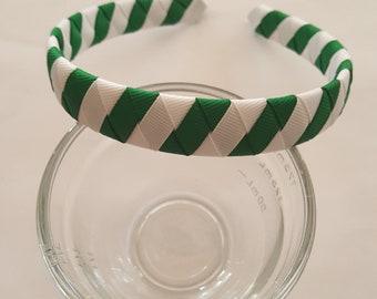 Green and white striped ribbon woven headband michigan state university color headband school headband girl headband holiday headband braid