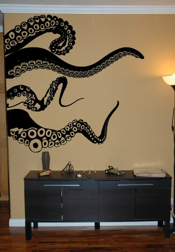 Large Kraken Octopus Tentacles Vinyl Wall Decal-Choose Any Color-Nautical Decor-Living Room-Nursery-Bedroom Art