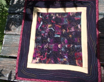 Unique Quilted, Felted, Multi-color Wall Art