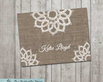 Burlap and Lace Note cards  personalized folded notecards Burlap and Lace Stationary
