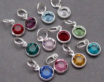 Swarovski Crystal Birthstone Charms, 6mm Swarovski Channel Charms, Stitch Markers, Bracelet Necklace Charms, Personalized Jewelry
