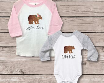 Big Sister Little Brother Shirts, New Big Sister, Baby Shower Gift, Big Sister Baby Brother, New Big Sister, Baby Bear Shirt