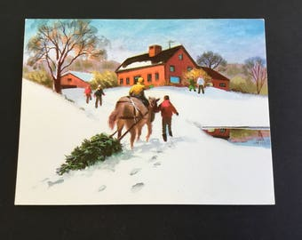 Vintage Christmas greeting card, bringing home the tree, horse, Carrington