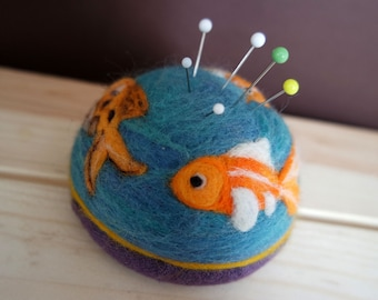 Goldfish Pincushion - Needle Felted Pincushion - Quilter Pincushion - Wool Pincushion -Gift for Quilter - Gift for Seamstress -Made to Order