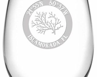 Custom Coordinates Coral Stemless Wine Glasses S/4, Latitude Longitude Glassware