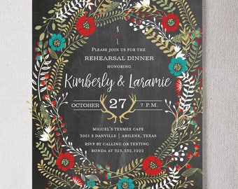 Rustic Wreath Rehearsal Dinner PRINTABLE Invitation
