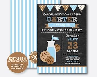 Instant Download, Editable Milk and Cookies Birthday Invitation, Milk and Cookies Party Invitation, Boy Invitation, Chalkboard (CKB.01B)