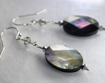 Black lip pearl earrings, mother of pearl earrings