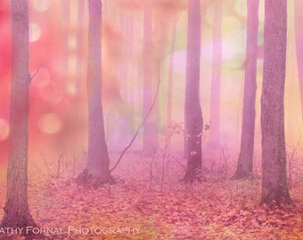 Fantasy Nature Photography, Fairytale Pink Trees Nature, Fantasy Nature Woodlands, Baby Girl Nursery Art, Autumn Fall Nature Woodland Trees