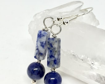Sodalite earrings, sodalite jewelry, dark blue stone earrings, blue white earrings, blue rectangle earrings, semiprecious stone necklace