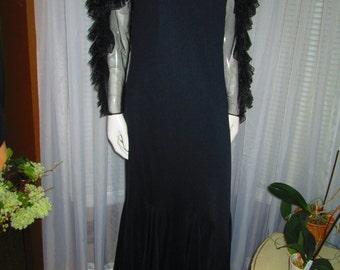 1970's Ladies Black Floor Length RUFFLED Sleeves by JOVANI