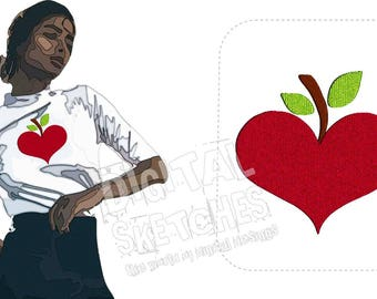 Apple Heart Machine Embroidery Design 3 Sizes