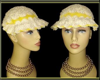 Flirty Yellow 1950s Hat Ruffled Brim So Couture