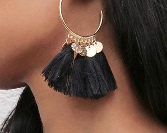Black Tassel Gold Coin Hoop Earrings