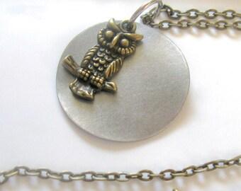 Owl Necklace, Owl Jewelry, Owl Charm, Bird Necklace, Bird Jewelry, Owl Moon Necklace, Owl and Moon Necklace