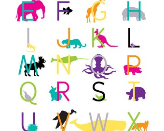 Modern Animal Alphabet Digital Print- 16x20