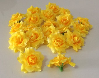 12 Yellow Rose Heads,5 cm.  for  Accessories   Decorations Wedding Crafts Headband