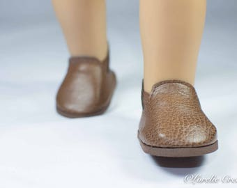 "Doll Ankle BOOTS in Short Length Brown Tan Faux LEATHER for American Girl or Boy or 18 "" Doll"