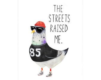 Street Pigeon A3 Art Print