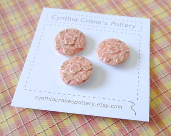 Set of 3 Handmade Clay Buttons, Sculpted Flowers, Shank Style, Color Washed Shabby Chic in Honeysuckle Pink