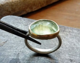 Green chalcedony rose cut silver & gold ring