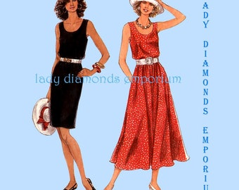 Simplicity 9022 Womens Scoop Neck Dress w Slim or Full Skirt size 8 10 12 14 16 18 Vintage Petite to Plus Size Sewing Pattern Uncut FF