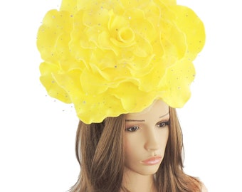 Stunning Yellow Parisa Large Rose Fascinator Hatinator Hat for Kentucky Derby & Ascot, Special Events With Headband
