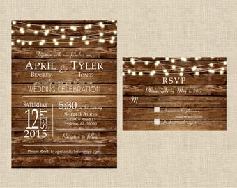 Country Wedding Invitation Set, Barn Wedding Invitation, Rustic Wedding Invitation, Wood Wedding Invitation, Light Strings Wedding Invite