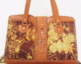 Vintage Tan & Brown Marbled Patchwork Leather Buckle Zip Tote Bag Shoulder Purse