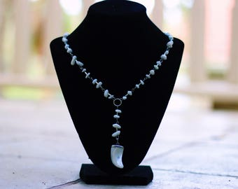 White Chip Bead Necklace with Bone Pendant