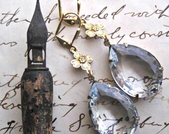 """dogwood, statement bridal earrings, dogwood earrings, vintage rhinestone bridal earrings, assemblage earrings. """"Joyfully"""""""