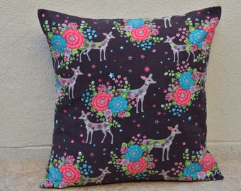 Handmade babycord fabric pillow /cushion printed with pink and blue flowers, roses, pink roses and deer, ribcord.