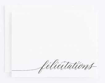 Félicitations - Letterpress Calligraphy Greeting Card