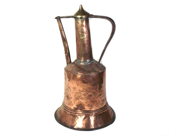 Antique Middle Eastern Copper Water Pitcher with Brass Lid