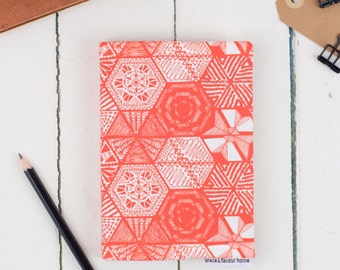 A6 Fabric Sketchbook, Hexie Doodle Coral hand drawn pattern design