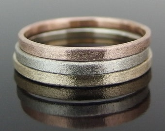 14k Gold Stack Ring Set, 14k Tricolor Gold Ring Set, Yellow Gold, Rose Gold, White Gold, 2 x 1 mm, Heavily Brushed Finish