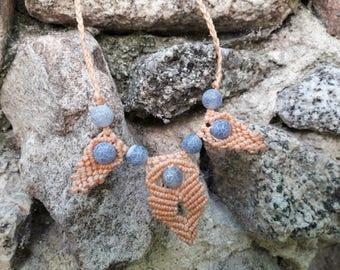 Orange macrame necklace with blue agate.  Handmade.  Tribal/ethnic/Boho/Hippie
