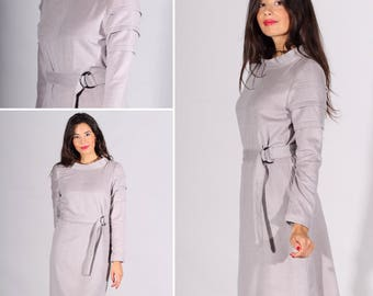 Wool dress, cashmere dress, luxury dress, elegant dress, winter dress, mini dress, beige dress, grey. Sizes 34 to 44 or Made to Measure !