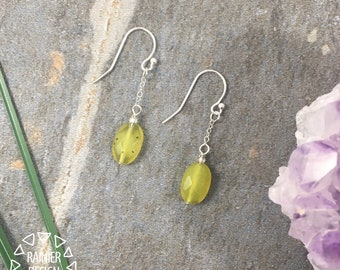 Lemon Drop Earrings ↠ Genuine Jade (Serpentine) and Sterling Silver, Handmade in the PNW, Hanging Bright Yellow Stone Dangles, Small Jewelry