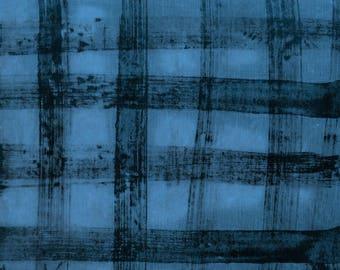 Treasure Hunt by Marcia Derse Tin Cup Blue Buffalo Plaid Blue with Black 43192-25 Fabric BTY