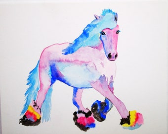 watercolor painting, horse portrait, abstract painting, beautiful art, original art, small painting,equestrian art