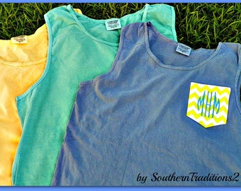 Monogrammed Personalized Chevron Pocket Tee  COMFORT COLORS and Authentic Pigment Tank Tops Choose your color t shirt