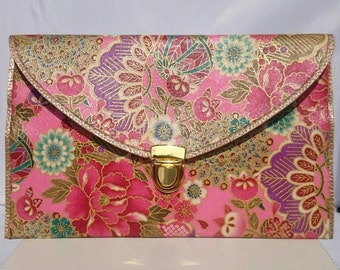 Hand redesigned gorgeous envelope handbag with Japanese fabric. Detachable strap.