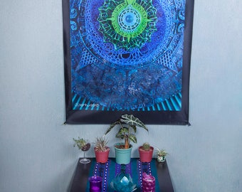 LIGHT WIZARD - Wall Hanging - Ancient Future - Tapestry - Banner - Visionary Art - Photograph - Sublimation -Print - Spiritual - Art -Psy