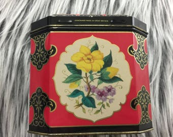 Small Floral Tin Storage Container // Floral Tin Box // Vintage Tin Box // Floral Home Decor