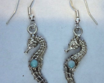 MOTHERS DAY SALE Very Cool Seahorse Earrings Genuine Top Grade Dominican Larimar Set in .925 Sterling Silver