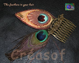 """Hair jewelry """"Le Paon in your hear"""", embroidered feathers"""