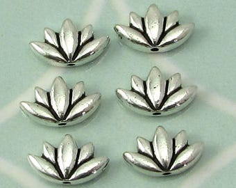 TierraCast Lotus Beads, Antique Silver, 6-Pc. TS130