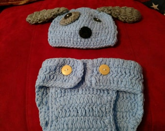 Baby Puppy Hat And Diaper Cover