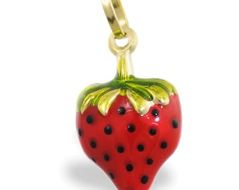 14K Gold Strawberry Enameled Pendant